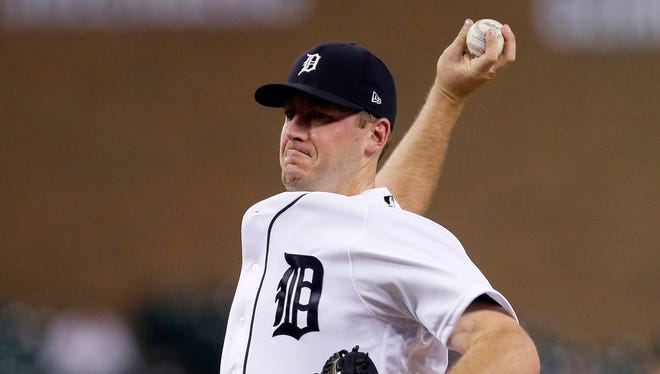 Tigers' Jordan Zimmermann pitches against the Twins in the third inning at Comerica Park on Sept. 21, 2017 in Detroit.