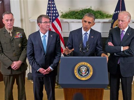 President Barack Obama, accompanied by, from left, Joint Chiefs Chairman Gen. Joseph Dunford, Defense Secretary Ash Carter and Vice President Joe Biden, speaks about Afghanistan, Thursday, Oct. 15, 2015, in the Roosevelt Room of the White House in Washington. Obama announced that he will keep U.S. troops in Afghanistan when he leaves office in 2017, casting aside his promise to end the war on his watch and instead ensuring he hands the conflict off to his successor.