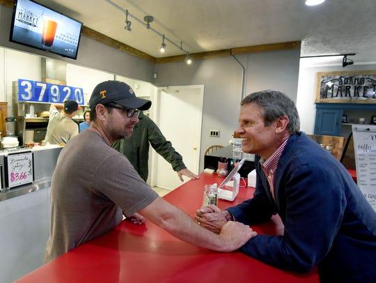 SoKno Market owner Benji Fowler talks with Bill Lee,