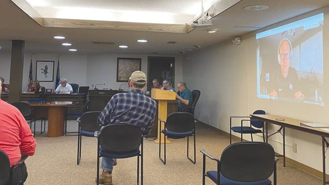 North Acres Estates and Carmen Terrace mobile home parks owner Andrew Keel, pictured over video conference on screen on the right, visited with the City Council's Ways & Means Committee about their request for city garbage collection which was approved.