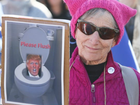 Sue Bardsley of north Wilmington participates in the Women's March in Philadelphia Saturday morning.