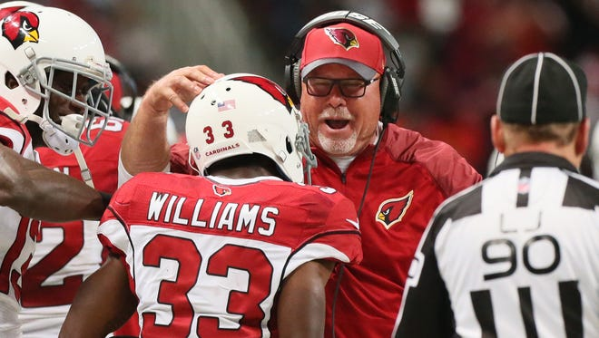 York High graduate Bruce Arians, shown here during his head coaching days with the Arizona Cardinals, has experienced a lot of stops along the way during his football coaching odyssey. AP FILE PHOTO