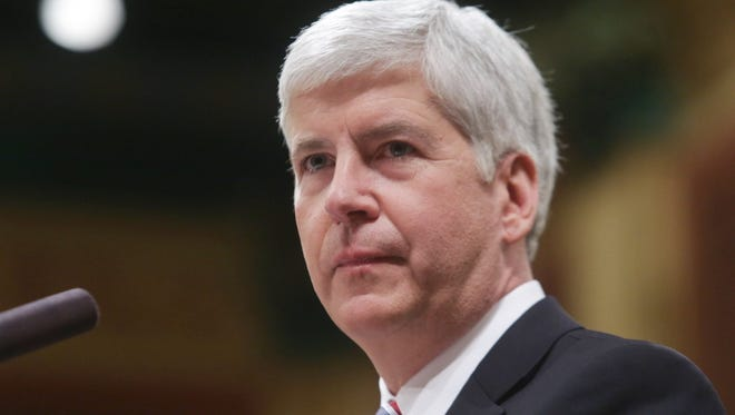 Governor Rick Snyder gives his speech during the 2014 State of the State address on Thursday January 16, 2014 at the Capitol building in Lansing. Ryan Garza / Detroit Free Press