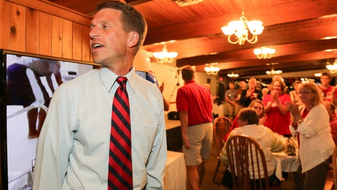 Sen. Joe Leibham makes an appearance to supporters early Wednesday morning at the Town and Country Club.