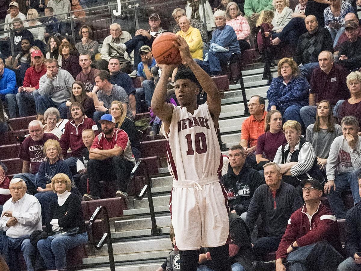 Newark junior B.J. Duling shoots a 3-pointer during this past Friday's game against Dayton Dunbar.