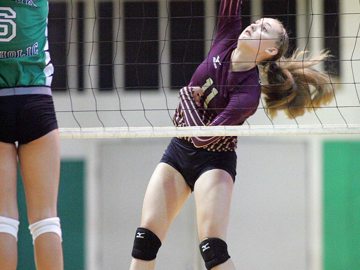 Licking Heights sophomore Brooklynn Janks spikes the ball this past Friday during the Newark Catholic Preview.