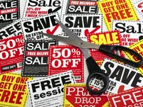 Coupon vouchers with scissors