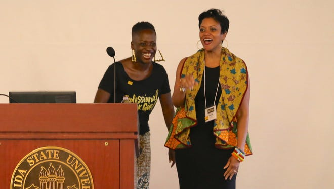 Tamara Bertrand Jones, associate professor of higher education at FSU and a founder of Sisters of the Academy, right, with Yaba Blay, of North Carolina Central University and founder of #Professional Black Girl.