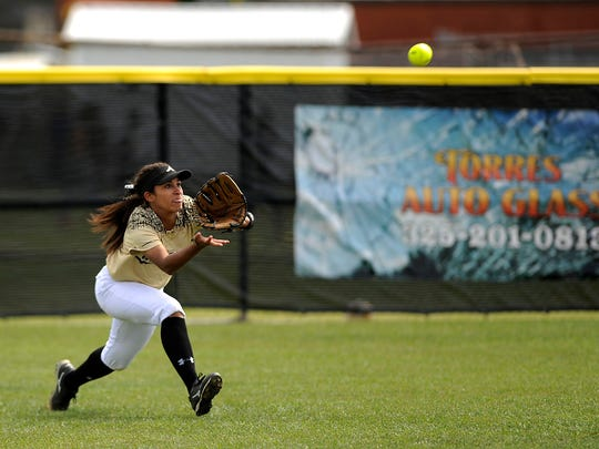 Abilene High center fielder Jaiden Franklin (5) runs down a fly ball during the top of the sixth inning of the Lady Eagles' 6-3 win on Wednesday, March 29, 2017, at Abilene High School.