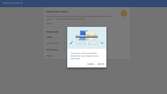 Google's history lets you delete information by day,
