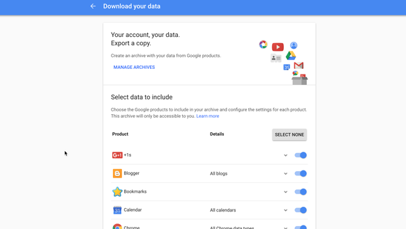 Google's account download page