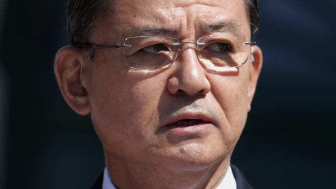 Veterans Affairs Secretary Eric Shinseki has rejected calls for his resignation amid an investigation of patient care at VA facilities.