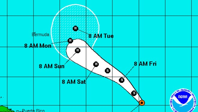 A graphic from the National Hurricane Center shows the position and forecast track of Tropical Storm Gaston at 11 a.m. Thursday, August 25.