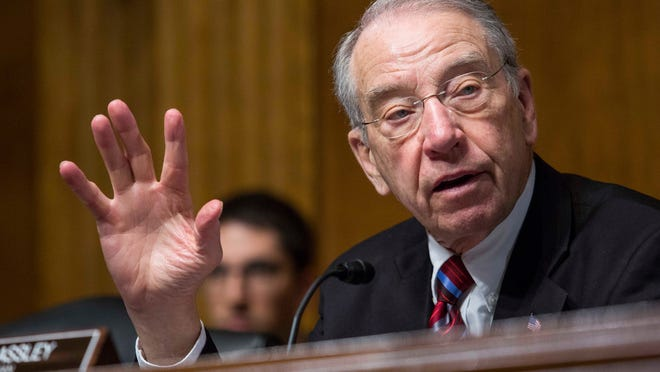 WASHINGTON, DC - MARCH 04: Committee Chairman Sen. Chuck Grassley (R-Iowa) questions witnesses during a Senate Judiciary Committee hearing entitled 'Whistleblower Retaliation at the FBI: Improving Protections and Oversight' on Capitol Hill on March 4, 2015 in Washington, DC. The hearing follows a Government Accountability Office report which disclosed that whistleblower protections at the FBI are weaker than other government agencies and that current procedures could discourage whistleblowing. (Photo by Drew Angerer/Getty Images) ORG XMIT: 541154959 ORIG FILE ID: 465219678