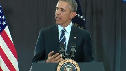 The President speaks at the Kroc Center in Camden on Monday.