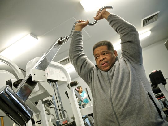 James Robertson, 57, exercises at the fitness center