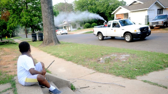 Javarrion Chism watches a Caddo Parish Animal Control mosquito control truck pass by his house in Shreveport's Queensborough neighborhood in April 2012, in a Times file photo. Experts say this year's mosquito crop could be a big nuisance, due to recent heavy rains.