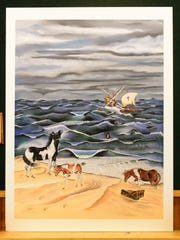 "Chincoteague artist Kevin McBride's ""The Legend"" was his Chincoteague Pony Penning painting in 1985."