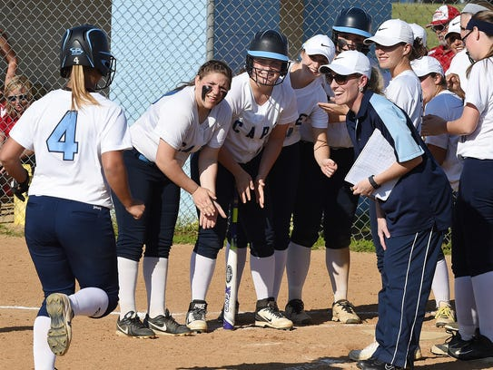 Cape's Sydney Ostroski runs for home plate after putting