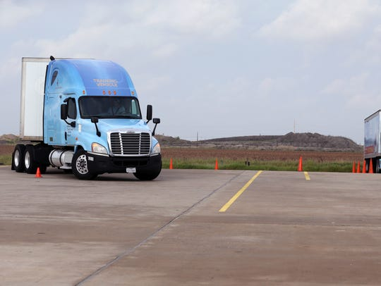 Del Mar College students practice trucking maneuvers