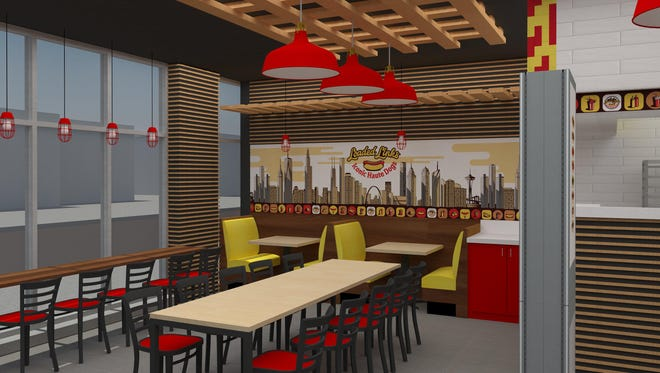 A rendering of Loaded Links, a new fast-casual hot dog restaurant coming to Troy this summer.
