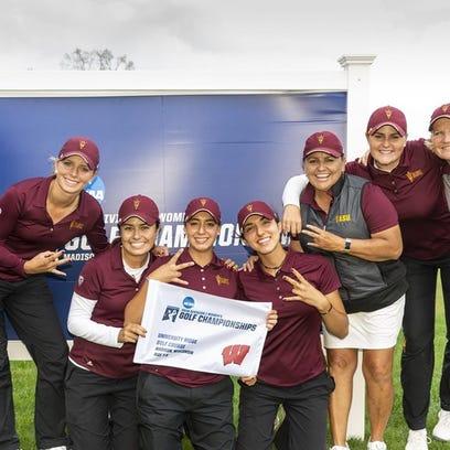 ASU golf head coach Missy Farr-Kaye celebrates with