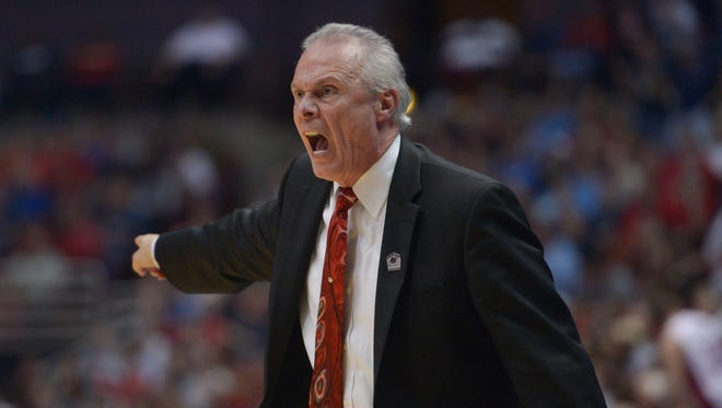 Wisconsin Badgers head coach Bo Ryan reacts against the Arizona Wildcats during the first half in the finals of the west regional of the 2014 NCAA Mens Basketball Championship tournament at Honda Center.