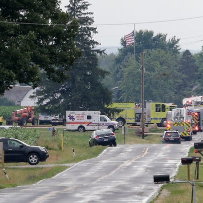 First responders on the scene of airplane crash off