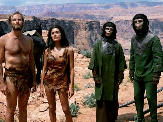 """""""Planet of the Apes"""" (starring Charlton Heston, left) was co-written by Rod Serling. The film, which turns 50 years old this year, will be discussed at SerlingFest in Binghamton."""