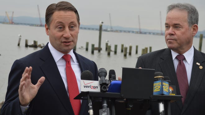 In Nyack, Westchester County Executive Rob Astorino, left, and Rockland County Executive Ed Day called on the state to allocate $2 billion from its bank settlement fund to pay for construction of the new Tappan Zee Bridge.