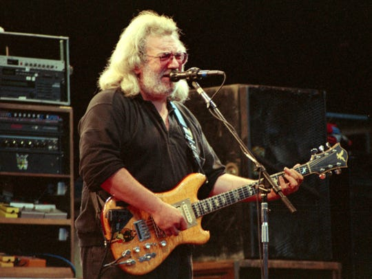 Jerry Garcia of The Grateful Dead performs at Shoreline