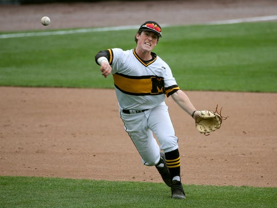 McQuaid infielder Tyler Griggs, a standout hitter, making a putout during the 2017 Section V Class AA Tournament final.