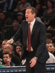Jan 21, 2017; New York, NY, USA; New York Knicks head coach Jeff Hornacek reacts during the second quarter against the Phoenix Suns at Madison Square Garden.