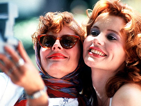 "Geena Davis, right, with Susan Sarandon, was Oscar-nominated for ""Thelma & Louise"" and won for ""The Accidental Tourist."" Now she's receiving an honorary Oscar at the Governors Awards."