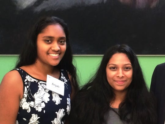 Middlesex County Academy for Science, Mathematics, and Engineering Technology juniors Malavika Vivek, right, and Anjali Gupta, both of Edison, have been named semifinalists in the nation's premier competition in math, science and technology for high school students.