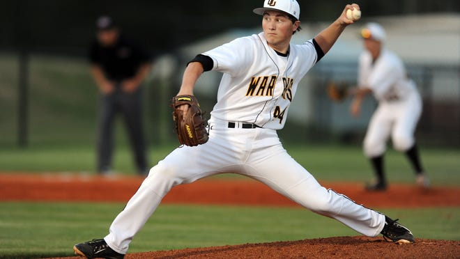 Oak Grove pitcher Drew Boyd (44) delivers a pitch during the Warriors' game against the Petal Panthers Thursday at Oak Grove High School.