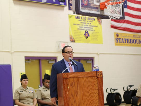 Congressman Blake Farenthold spoke to students and parents Friday at the Veterans Day Ceremony at Miller High School.