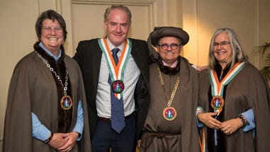 Cheese maker George Crave (second from left) of Crave Brothers Farmstead Cheese was inducted into the New World Chapter of The Guilde Internationale des Fromagers. Joining him (from left) Cathy Strange, Global Executive Coordinator, Specialty and Product Innovation and Development, Whole Foods Market, Inc.; Roland Barthelemy, Ambassadeur, New World Chapter of the Guilde Internationale des Fromagers; and Jodie Wische, Emmi USA.