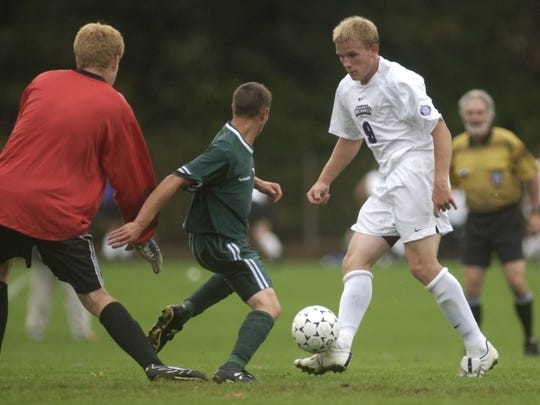 Former Arlington star Glenn Sherman (right), seen here playing for St. Michael's College, is one of  12 to be inducted into the VPA Hall of Fame later this year.