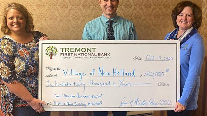 Annie Coers, Mayor of the Village of New Holland, left, accepts a check from Tyler Hodge, manager of the New Holland Office, center and June Kidd, right, President/CEO of The First National Bank in Tremont.