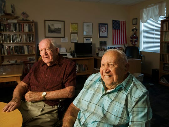 Walter Kaslikowski, 95, left, with brother Jack, 97, recently at the Douglas T. Jacobson State Veterans Home in Port Charlotte, Florida. The brothers served in World War II together.