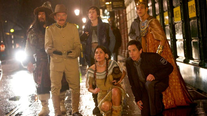 """Night at the Museum: Secret of the Tomb"" features Attila the Hun (Patrick Gallagher), Teddy Roosevelt (Robin Williams), Nick Daley (Skyler Gisondo), Sacajawea (Mizuo Peck), Larry Daley (Ben Stiller) and Ahkmenrah (Rami Malek)."