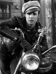 "Marlon Brando plays Johnny, leader of the Black Rebel Motorcycle Club, in the classic 1953 biker movie ""The Wild One."""