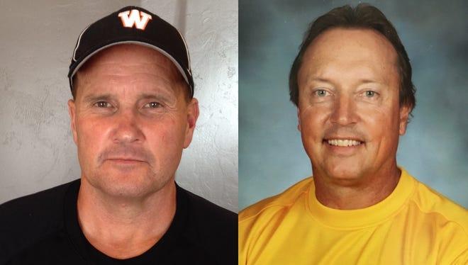 Former West De Pere assistant coach Jeff Lutz, left, and former Bay Port assistant coach Al Schlies.