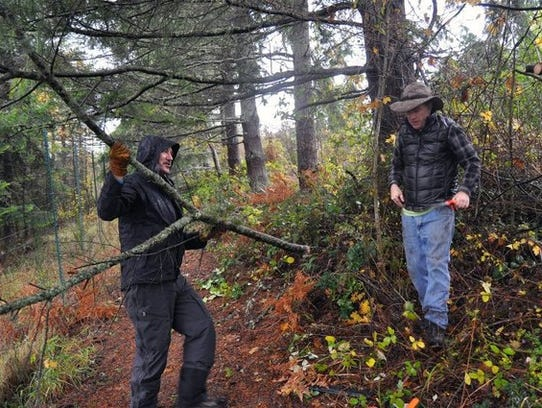 Friends of the Farms volunteers work on a trail around Day Road farmland on Bainbridge Island. Updates to the critical areas ordinance requires the preservation of native vegetation in building projects.