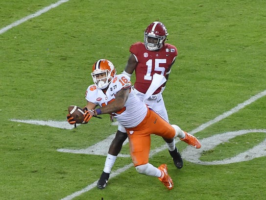 Jordan Leggett, shown with his late catch during Clemson's