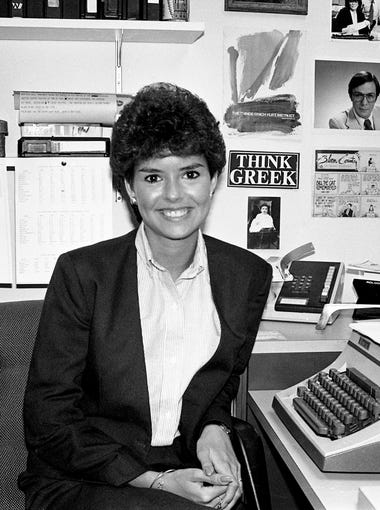 Weeks of speculation ended Aug. 23, 1984 with the announcement that Demetria Kalodimos, here at her desk, will step into the WSMV-Channel 4 co-anchor spot weekdays on the ÒScene at Six.Ó Kalodimos, 24, a reporter and weekend anchor at the station since February, will assume the spot Sept. 17th.