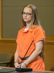 Angelika Graswald in court at her bail hearing in Goshen on May 13. Graswald has been charged with second-degree murder in disappearance of her fiance, Vincent Viafore while kayaking on the Hudson River.