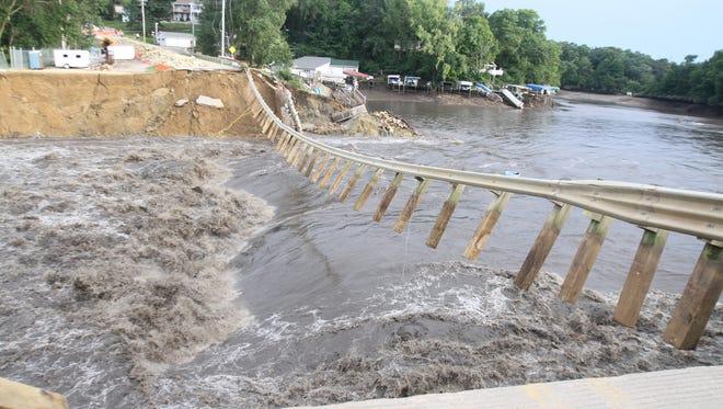 A 2010 file picture shows the breached dam at Lake Delhi.