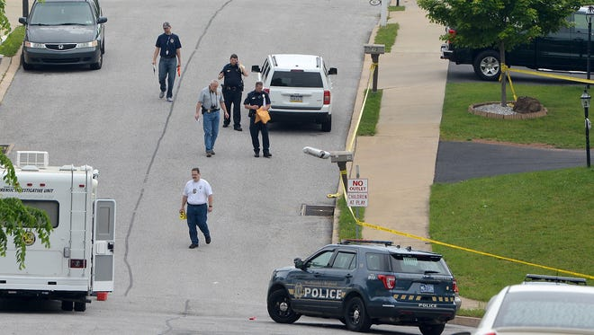 Northeastern Regional Police investigate an early-morning shooting in Manchester Borough, Sunday, May 28, 2017. John A. Pavoncello photo
